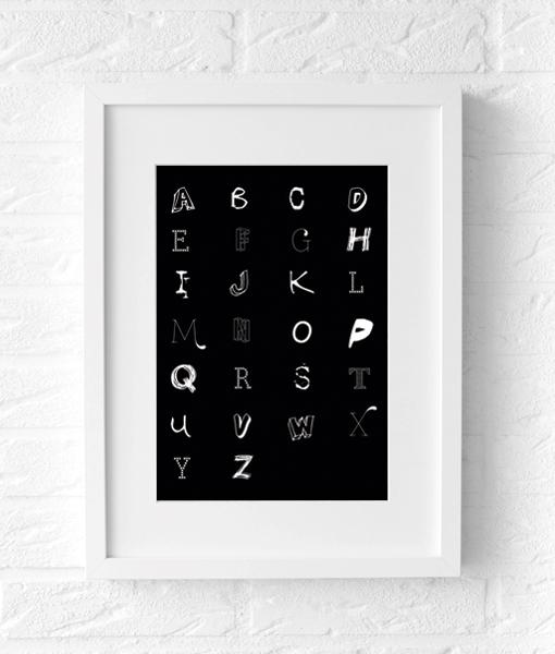 alfabet letter poster muur zwart wit