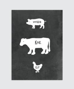 kinderkamer poster boerderij zwart wit tekst