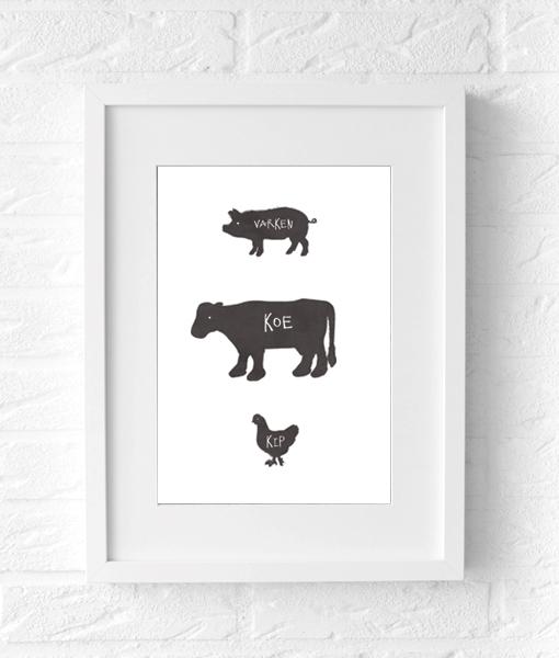 poster boerderij dieren wit muur