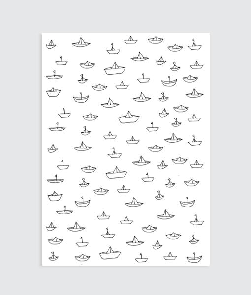 kinderkamer poster bootjes zwart wit