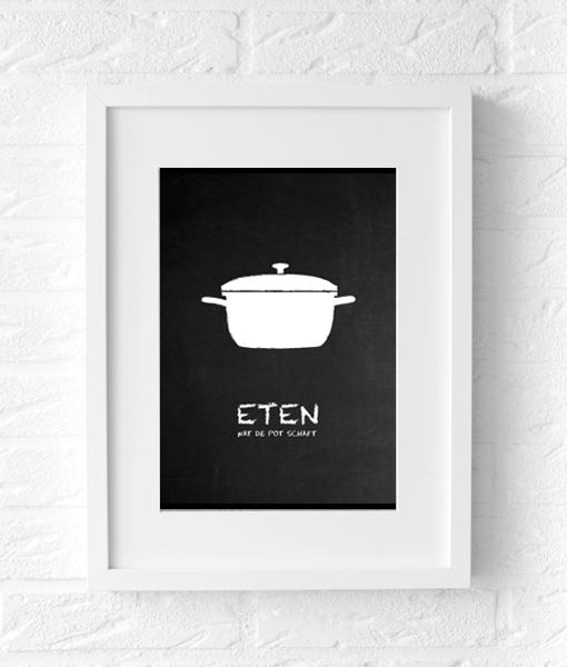 Eten keuken poster zwart wit muur