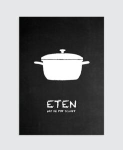 """Zwart wit Poster """"Eten wat de pot schaft"""" Homemade Poster"""