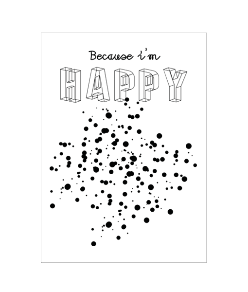 poster happy zwart wit