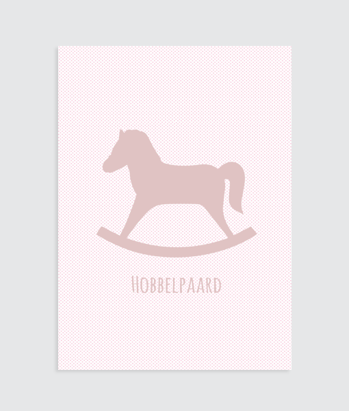 Hobbelpaard poster kinderkamer roze