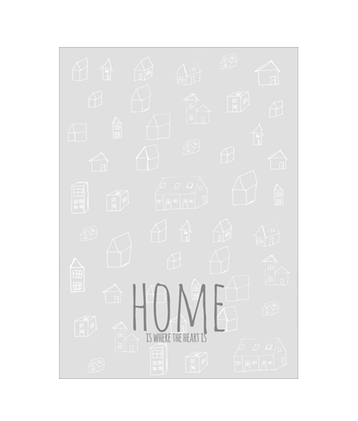 Heart Home Poster Zwart Wit