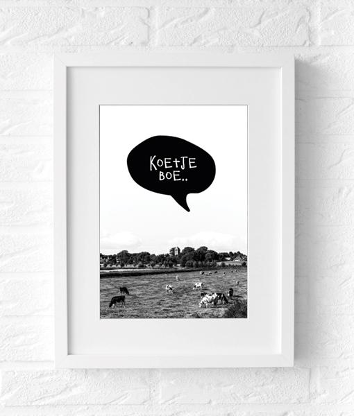 poster fotografie zwart wit koe muur
