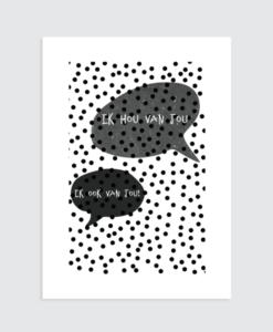 Zwart wit poster liefde