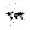 wereldkaart kinderkamer poster blauw