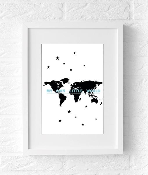 wereldkaart kinderkamer poster blauw lijst