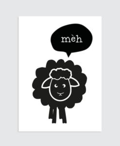 """kinderkamer poster zwart wit schaap """"meh"""""""