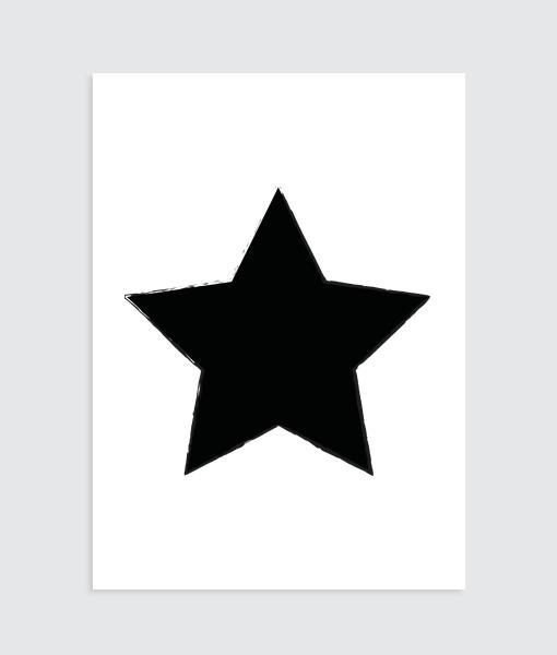 """Zwart wit kinderkamer poster """"Jij ben een ster"""""""