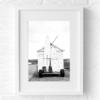 Surf huisje poster fotografie  zwart wit muur