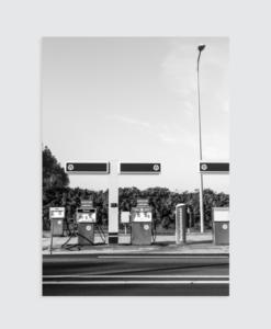 Zwart wit Poster Texel tankstation  Homemade Poster