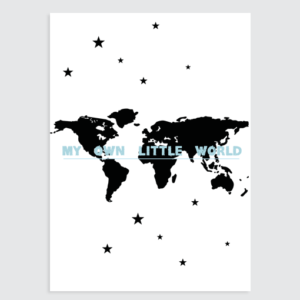 "Wereldkaart Poster (blauw) ""My ow little World"""