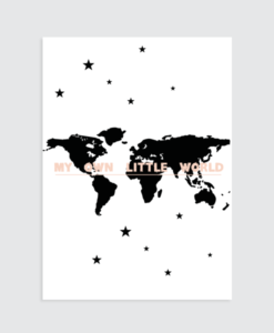 "Wereldkaart Poster (Roze) ""My own little world"" muurposter"