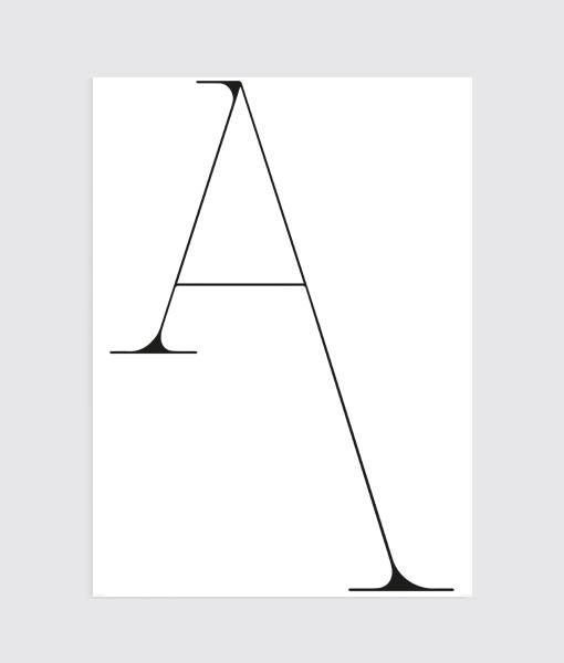 Alphabet Letter A Zwart wit Poster