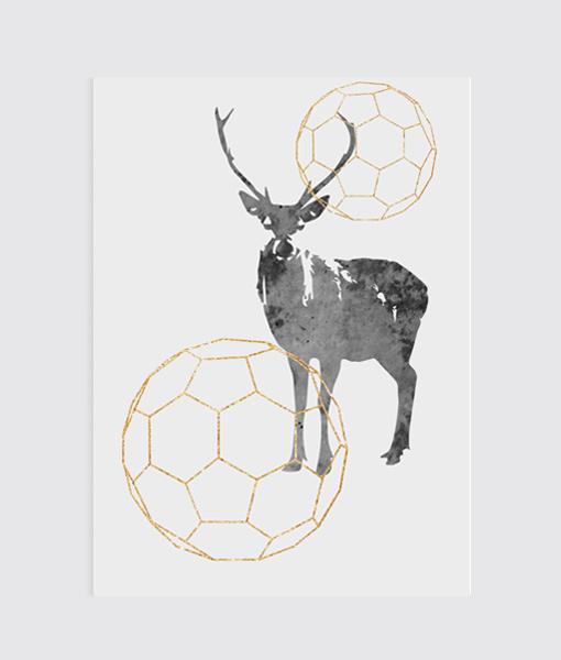 Deer goud Kerst poster