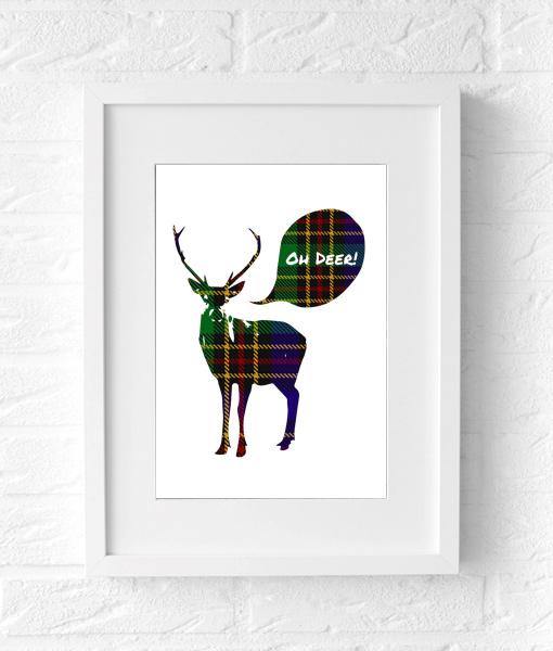 Kerst poster Oh Deer schots printje muur