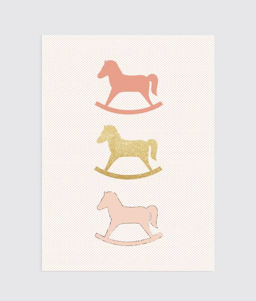 Poster kinderkamer Hobbelpaard Roze Homemadeposter