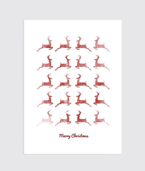 Fading Red Deers kerst poster