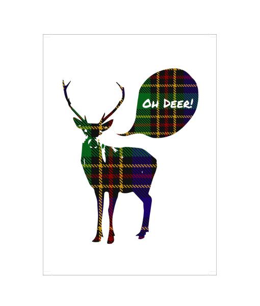Schots patroon Oh Deer kerst poster