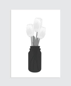 zwart wit poster tulpen