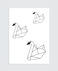 zwart wit poster zwaantjes