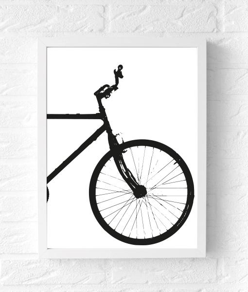 fietsposter-zwartwit-tweeluik-fiets