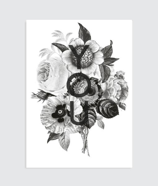 Poster-liefde-zwartwit-bloemen-interieuridee