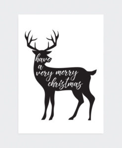 Kerstposter Very Merry Christmas Gray