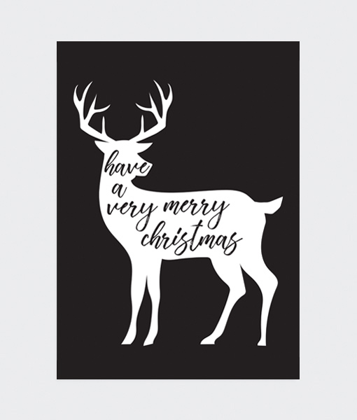 KerstPosterVeryMerryChristmasZwartGray